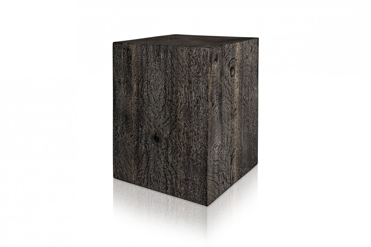 Ebonized and Cerused Quarter Sawn White Oak Display Pedestal