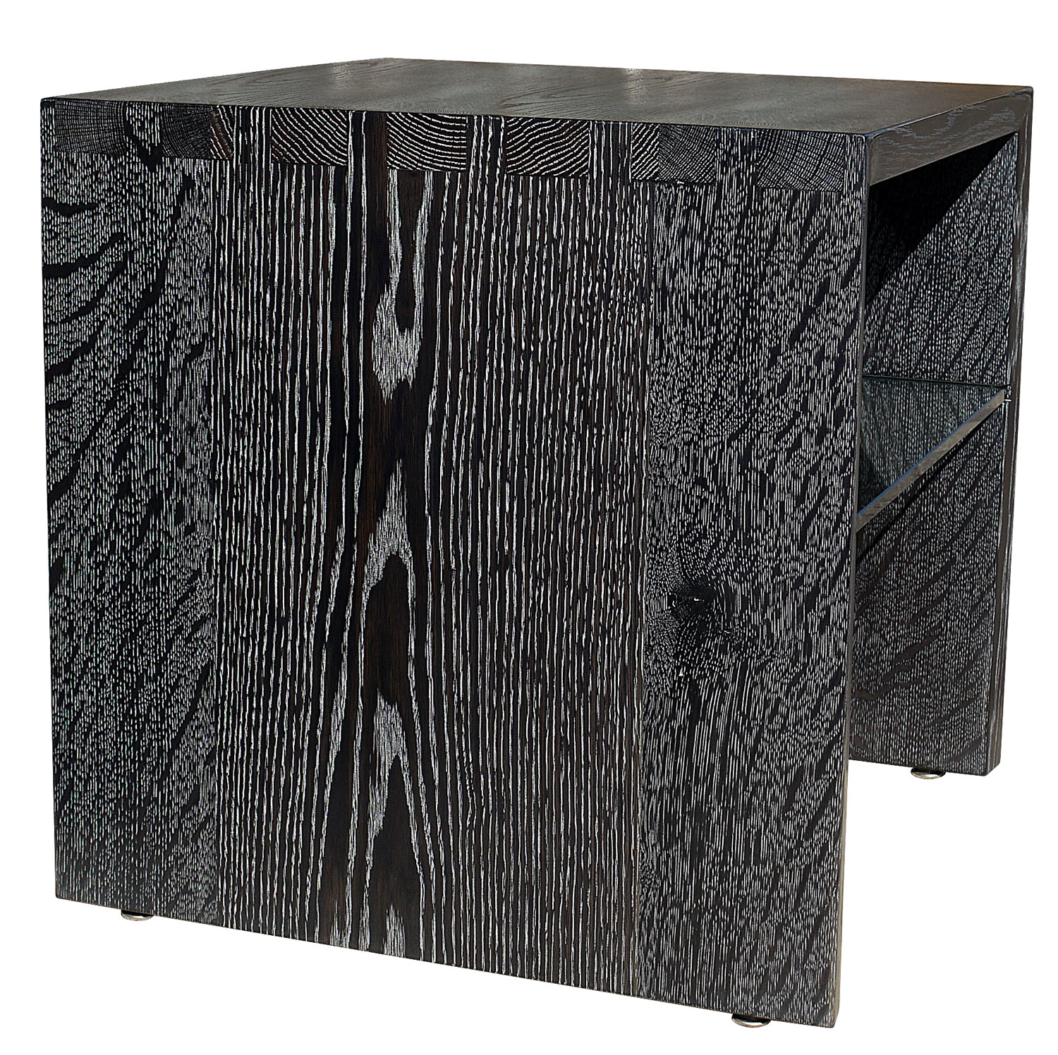 Ebonized And Silver Cerused White Oak Side Tables