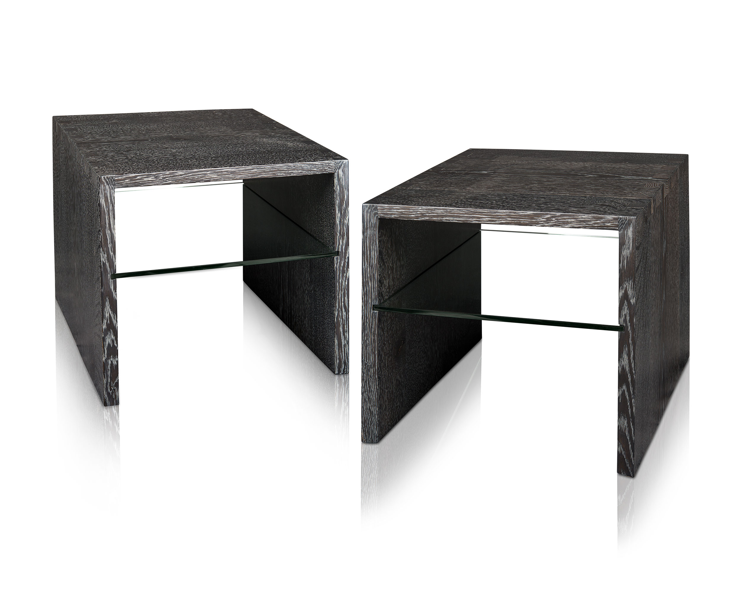 product=ebonized and silver cerused white oak side tables